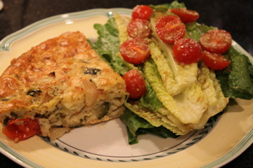 Roasted Vegetable Impossible Pie and Salad