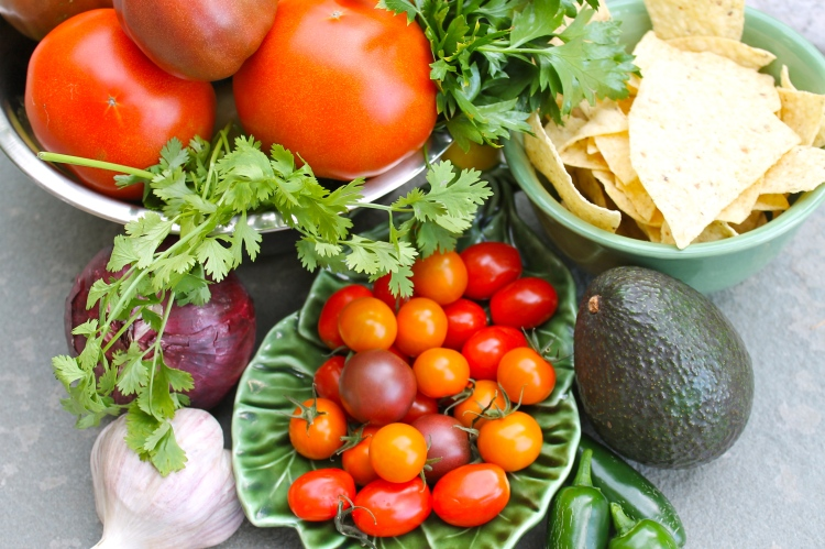 fresh ingredients for mexican soup