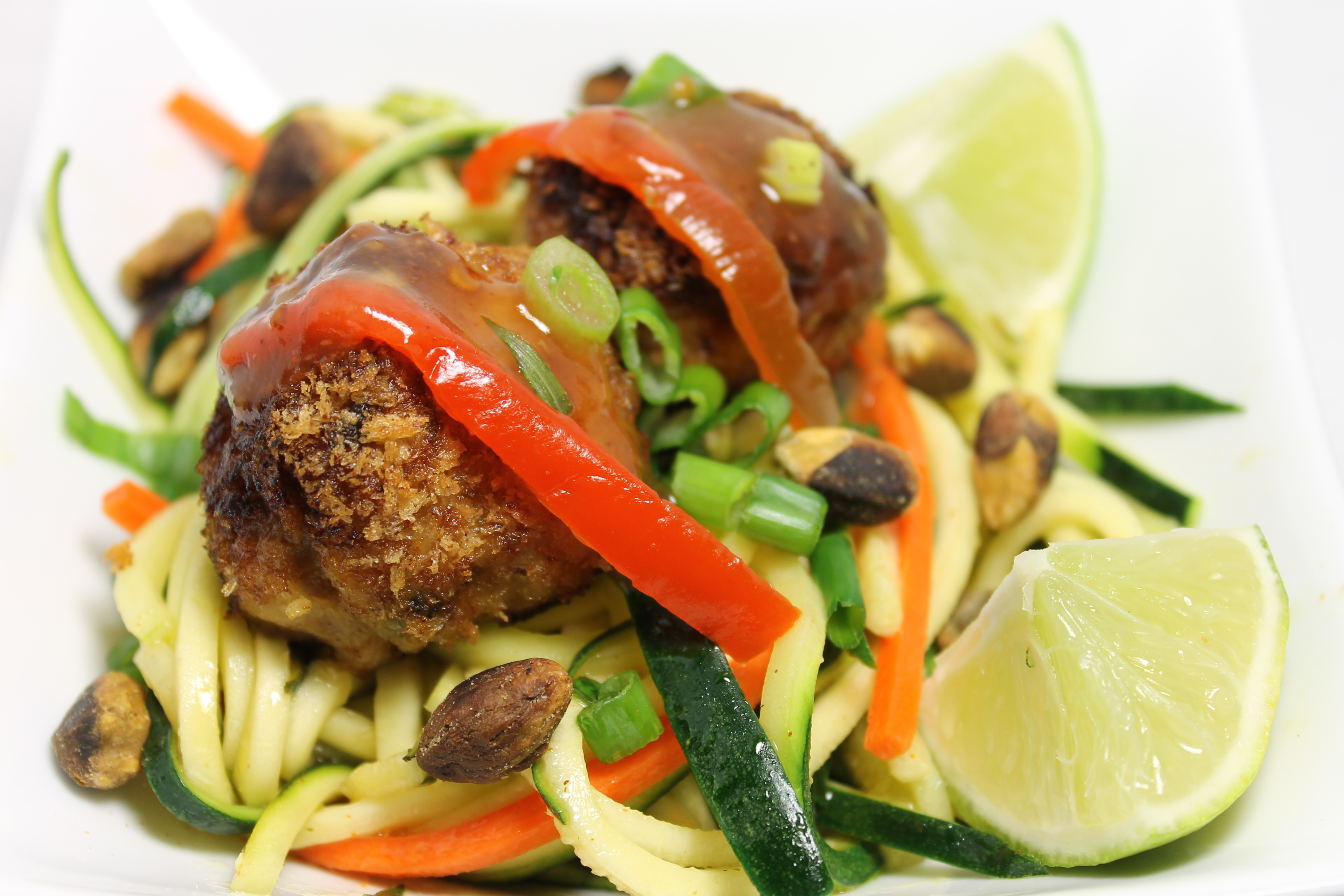 "Asian Meatballs With Vegetable ""Spaghetti"" 