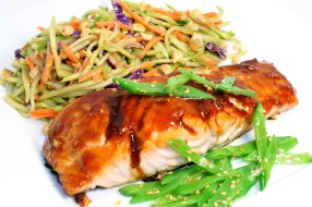 Asian Glazed Salmon And Slaw With Pad Thai Dressing
