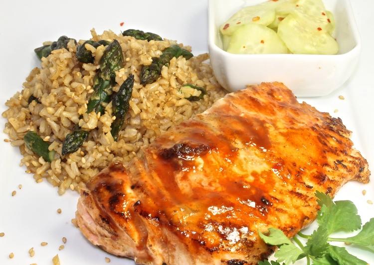 Glazed Salmon With Roasted Asparagus Sesame Brown Rice
