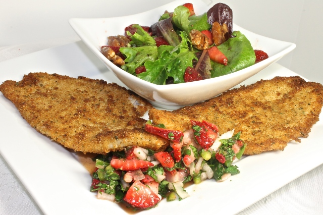 Filet of Sole With Strawberry Salsa And A Strawberry Salad