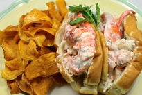 Homemade Lobster Roll With Sweet Potato Chips