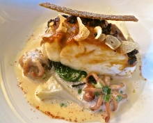 Sea Bass With Garlic Chips, Small Squids And Bouillabaisse In Basis Sauce