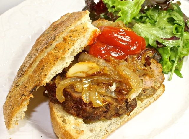 Meatloaf Sandwich On Herbed Foccacia With Caramelized Onions And Truffled Ketchup