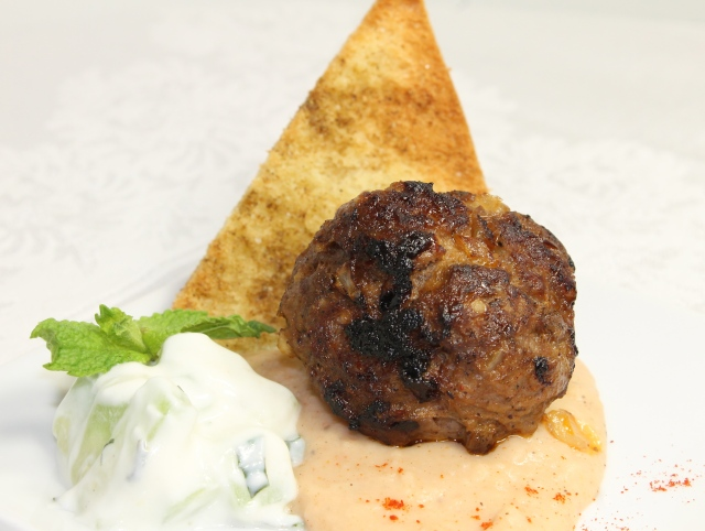 Lamb Meatball With Hummus And Tzatziki