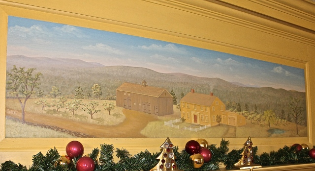 Mural Over The Mantle Depicting Home As It Looked In 1730's