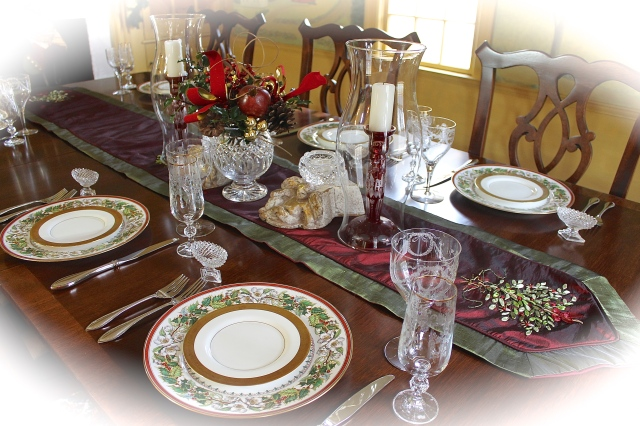 Dining Table Set With Christmas Rose China And Crystal