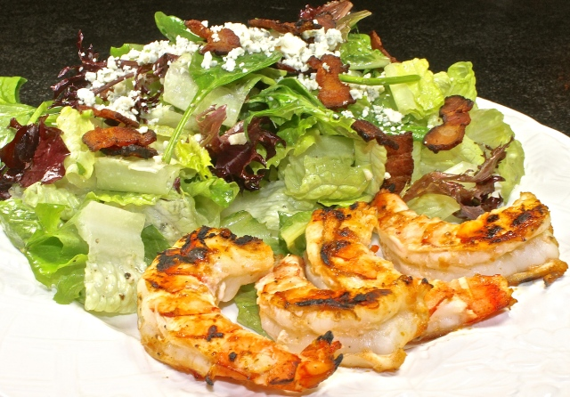 Grilled Shrimp With A Crispy Bacon And Gorgonzola Salad