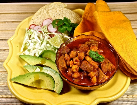 Pozole Roja With Condiments