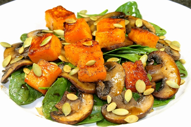 Spinach And Mushroom Salad With Butternut Squash Croutons