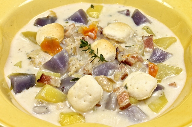 New England Clam Chowder With Purple Potatoes