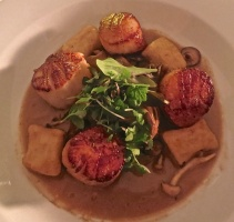Scallops With Ricotta Gnochi, Wild Mushrooms And Truffle Sauce