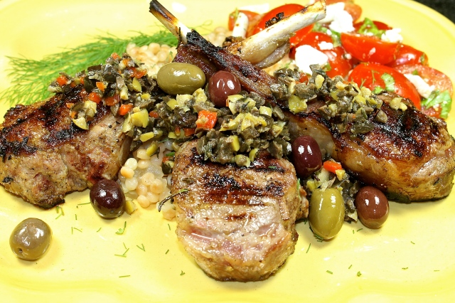 Grilled Lamb Chops With Tapenade Over A Bed Of Fennel Israeli Couscous