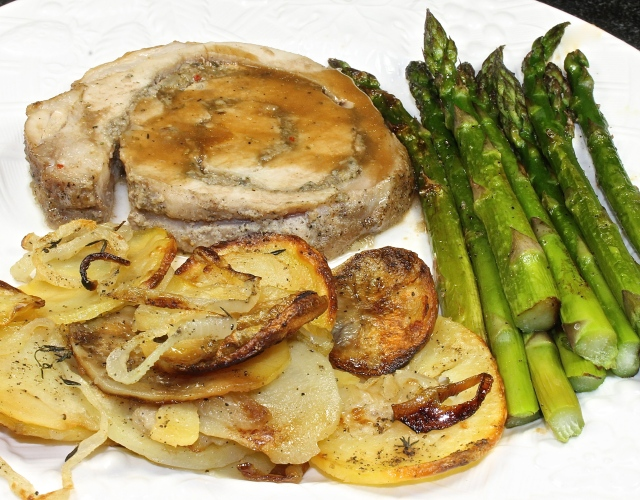 Porchetta With Roasted Potatoes and Onions and Roasted Asparagus