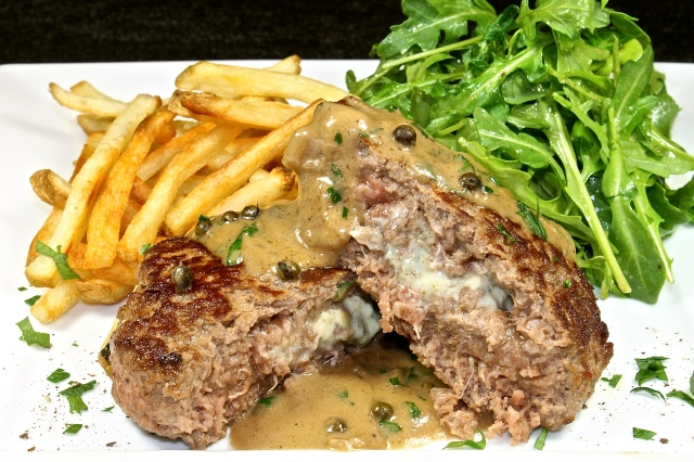 Blue Cheese Stuffed Burger With A Port And Green Peppercorn Sauce