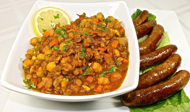 Harira, A Moroccan Chickpea And Lentil Soup With Spicy Merguez Sausage