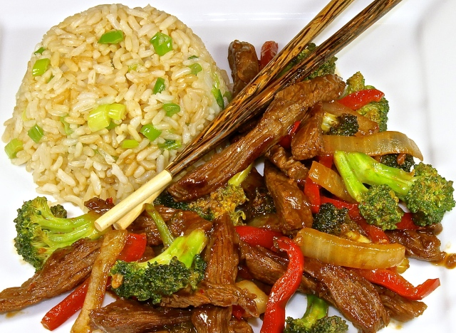 Stir Fried Beef, Broccoli, Peppers And Onions