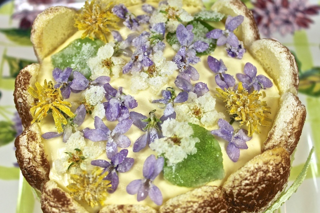 Tiramisu Decorated With Candied Flowers For A Special Occasion