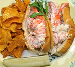 A Lobster Roll, Pickle And Chips...A Perfect Lunch