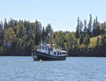 Trawler At Anchor Off Maine Island