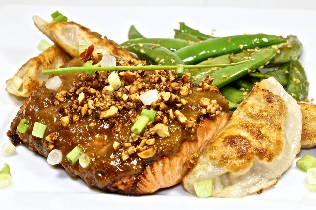 Salmon With Crunchy Peanut Ginger Sauce
