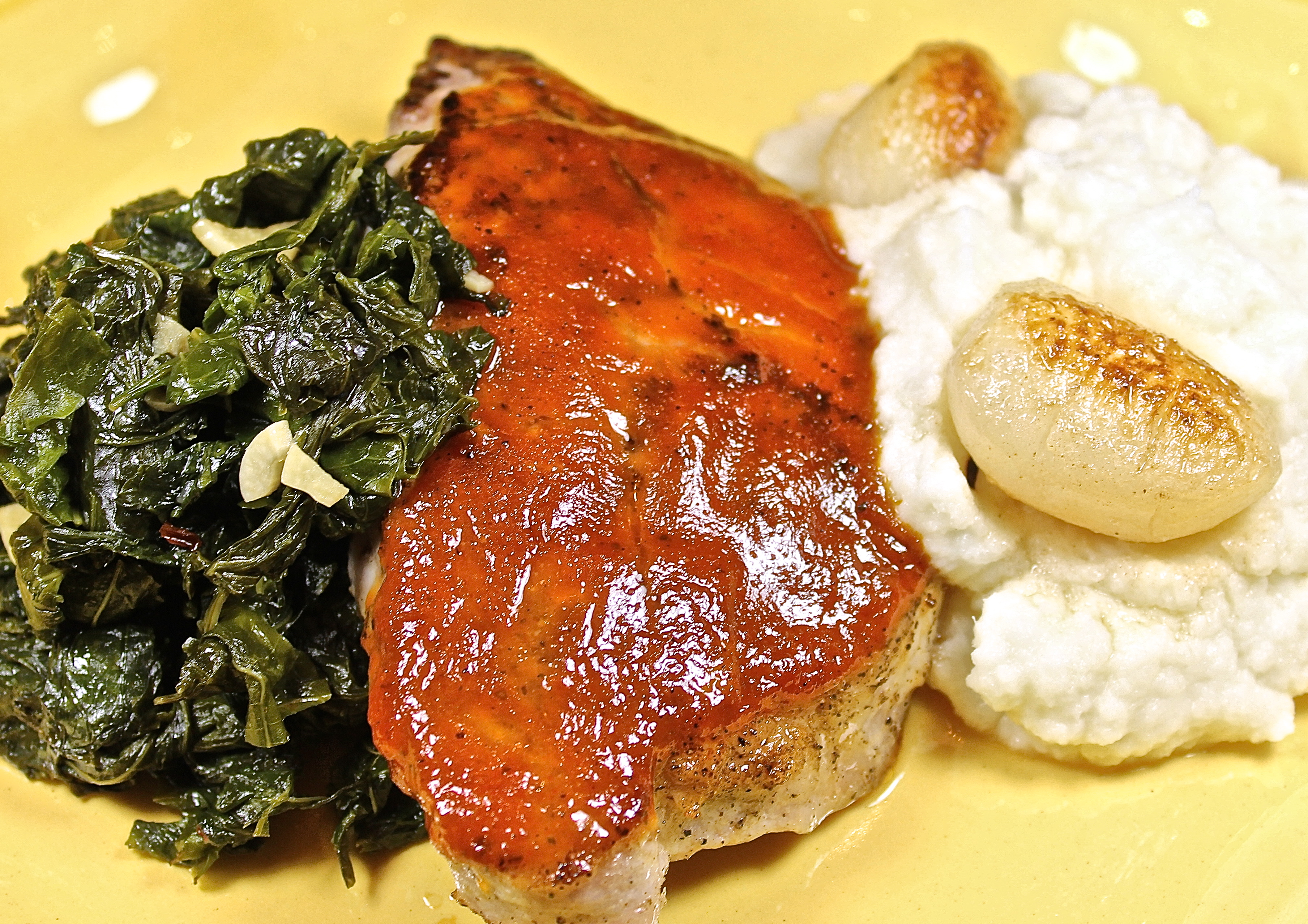 Bourbon And Brown Sugar Glazed Pork Chops With Turnips Served Three ...