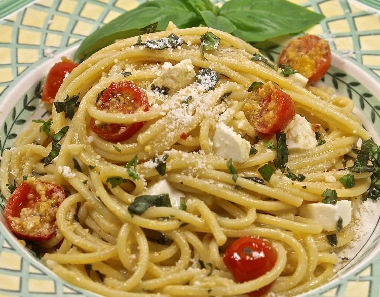 Spaghetti Alla Portofino Made With Ripe Cherry Tomatoes