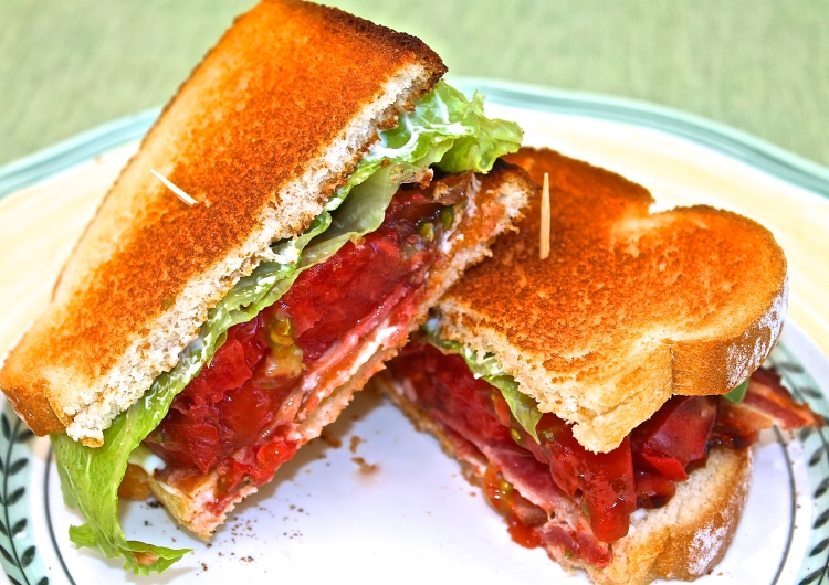 BLT Made With Heirloom Cherokee Purple Tomatoes And Applewood Smoked Bacon