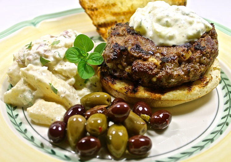 Grilled Lamb Burger With Greek Potato Salad