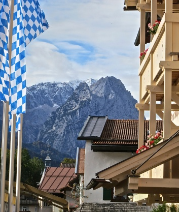 View Of The Zugspitze From The Historic Center Of Garmisch-Partenkirchen