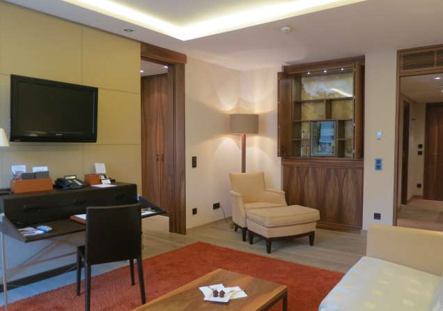 Jr. Suite Sitting Room With Leather Walls