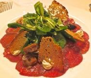 Carpaccio Of Domestic Venison With Autumn Mushrooms, Balsamic And Lamb's Lettuce