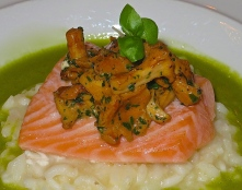 Salmon With Chantarelle And Risotto On Parsley Emulsion