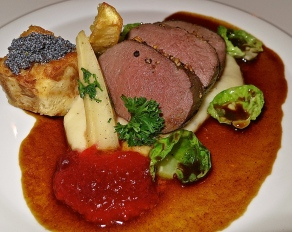 Venison With Parsley Root, Brioche Dumpling, Brussels Sprouts And Cowberries