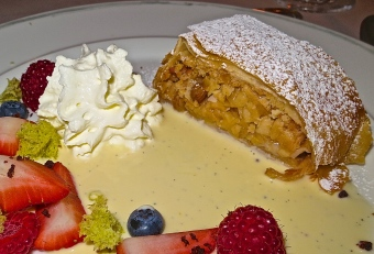 Apple Strudel With Vanilla Sauce And Whipped Cream