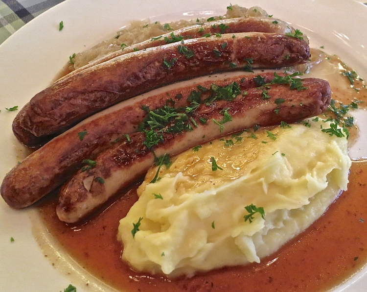 Sausages, Sauerkraut and Mashed Potatoes...A Delicious Bavarian Lunch