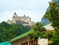 Hohenwerfen Fortress Perched High Above The Town