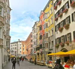 Boutiques, Cafes And Restaurants Line The Streets Of Innsbruck
