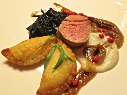 Filet Of Veal With Jerusalem Artichoke, Black Trumpets, Cranberries & Cheese Ravioli