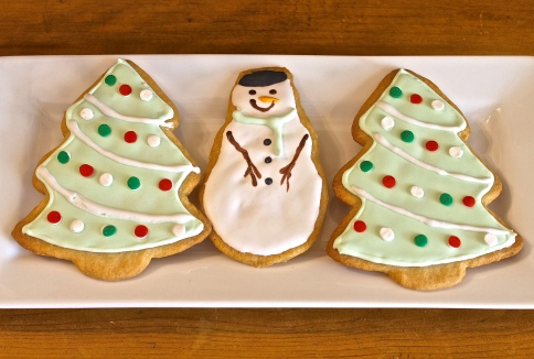 Christmas Trees and Snowmen Cookies Ready To Eat