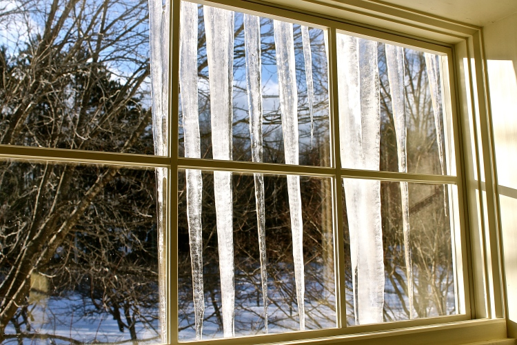 Icicles Shine Like Baccarat Crystals Decorating The Windows