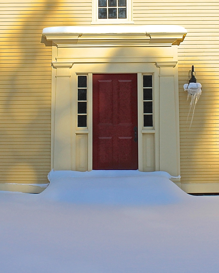 The Stage Coach Red Door Seems Warm In The Cold Enviorment