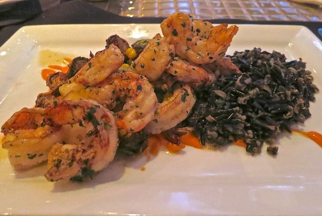 Key West Shrimp With Wild Rice, Brussels Sprouts, And Piquillo Pepper Aioli
