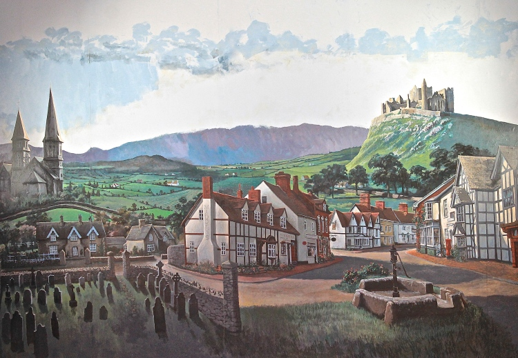 Mural Of An Irish Village In The Holy Grail Pub