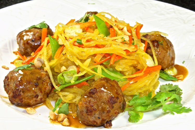 Thai Style Spaghetti  Squash With Chicken Meatballs
