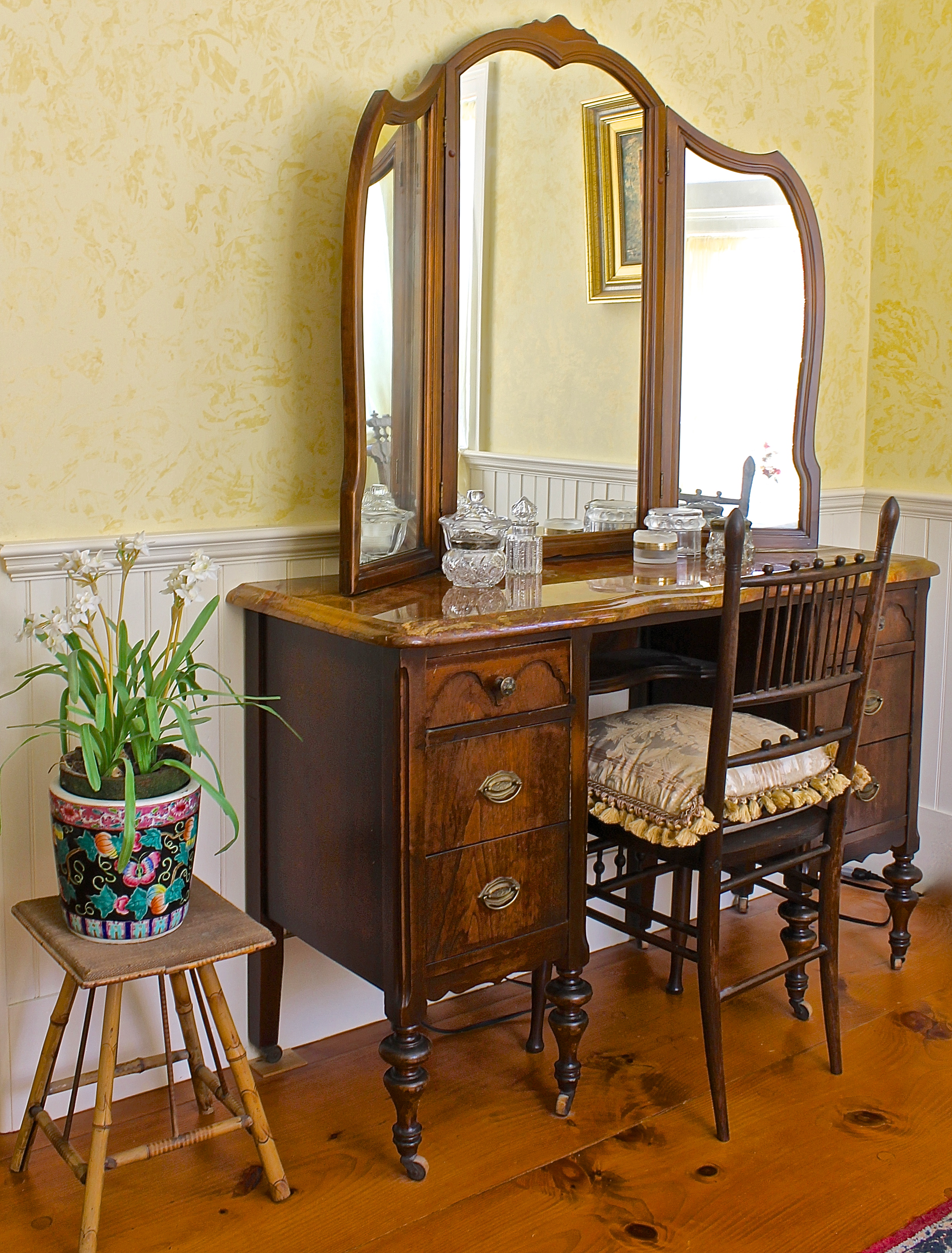 Img 9863 Antique Dressing Table With Marble Top Back