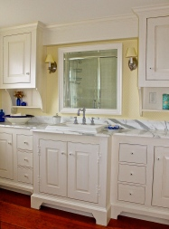 New England Style Guest Bathroom Marble Topped Vanity