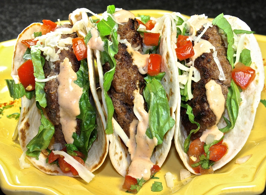 Burger Tacos With Chipotle Mayo