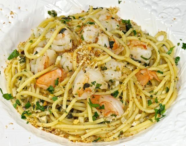 Spaghetti, Scampi And Garlic Crumbs